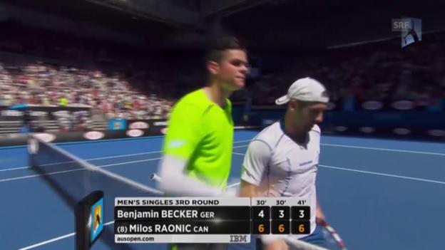 Video «Tennis: Australian Open, 3. Runde, Matchball Raonic-Becker» abspielen