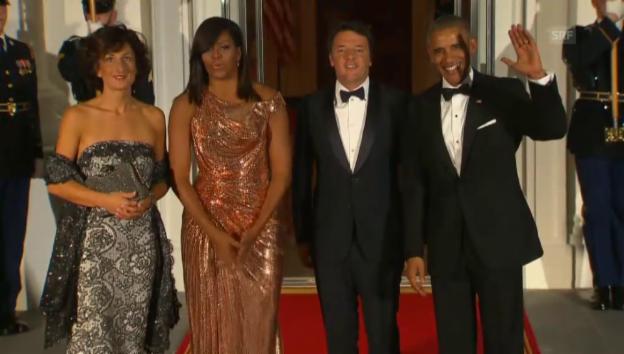 Video «Die Obamas empfangen Matteo Renzi und seine Frau (Unkomm.)» abspielen