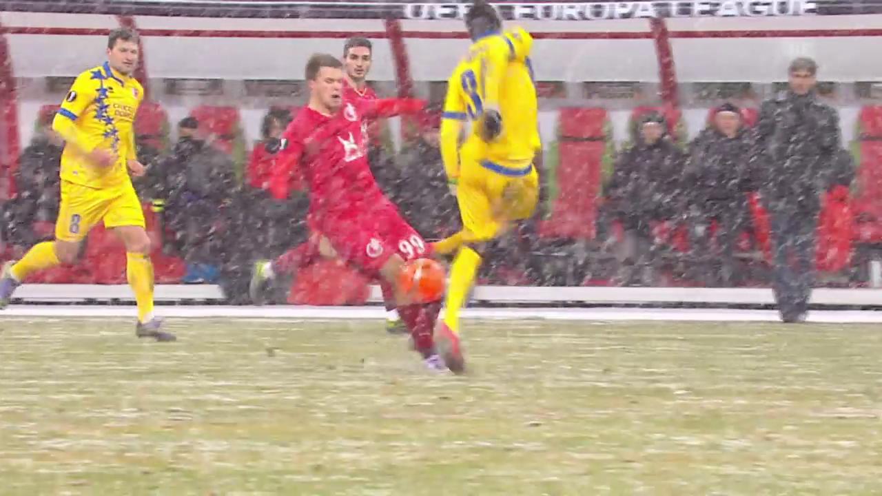 Fussball: Europa League, Kasan-Sion, Gelb-rot gegen Ndoye