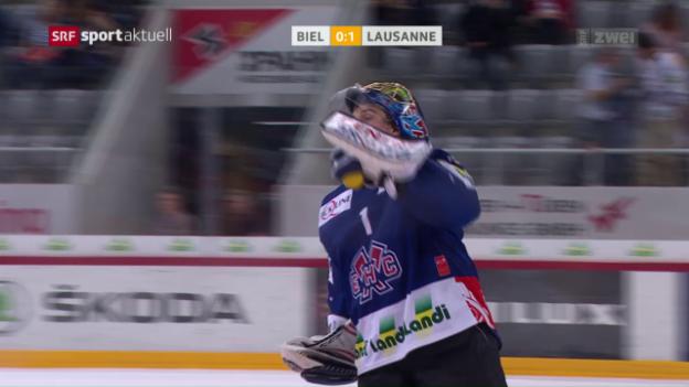Video «Hiller verliert bei Rückkehr mit Biel gegen Lausanne» abspielen