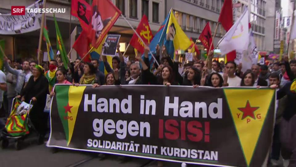 Kurden demonstrieren in Basel gegen IS-Terror