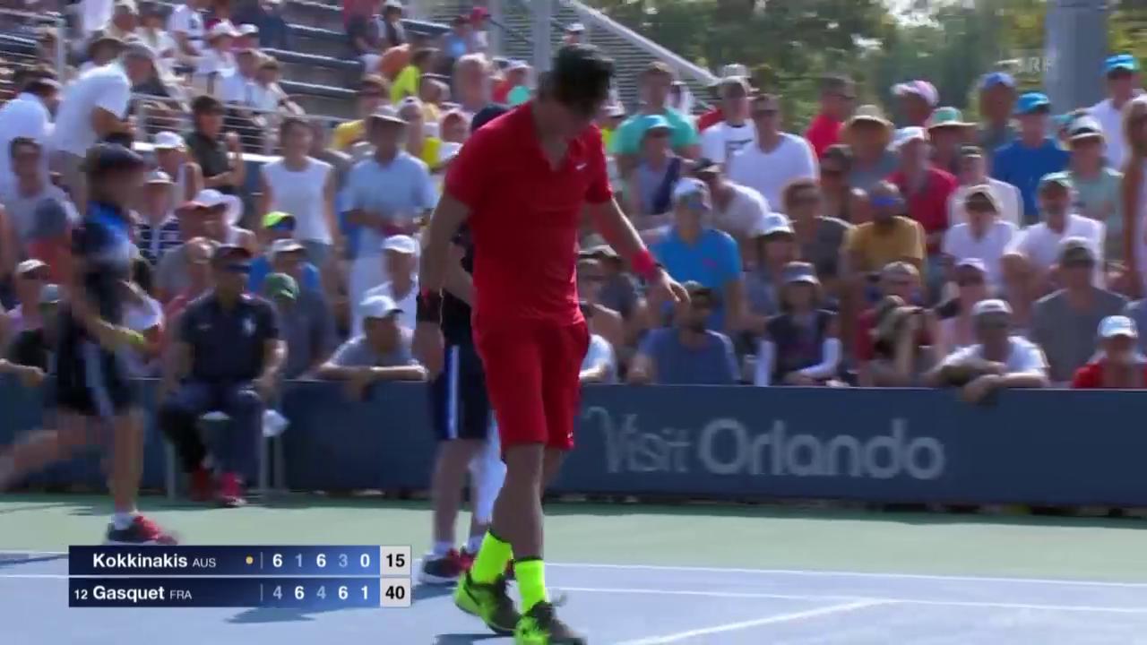 Tennis: US Open, Kokkinakis-Gasquet