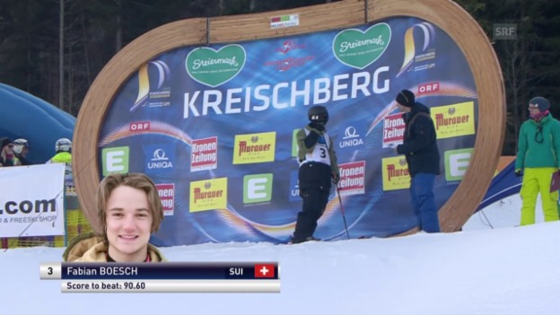 Video «Freeski: Freestyle-WM – Slopestyle 1. Final-Lauf Fabian Bösch» abspielen