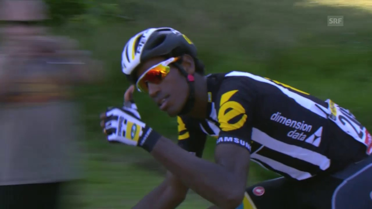 Rad: Tour de France 2015, 6. Etappe, Daniel Teklehaimanot schlüpft ins gepunktete Trikot