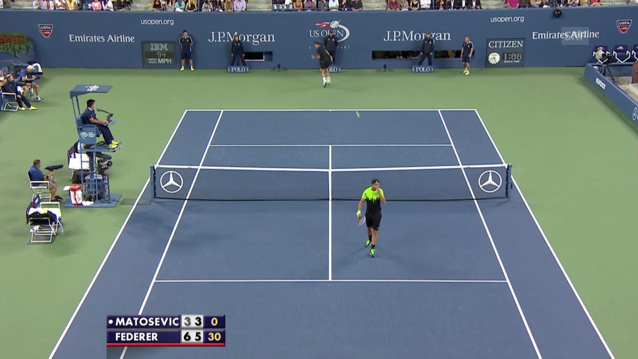 Tennis: US Open, Federer mit Tweener gegen Matosevic