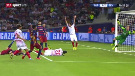Video «Fussball: Supercup, Barcelona - Sevilla, 4:3 Gameiro» abspielen