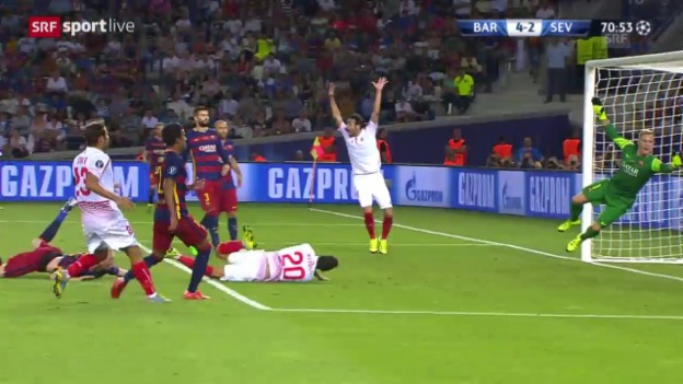 Video «Fussball: Supercup, Barcelona - Sevilla, 4:3 Gameiro» abspielen