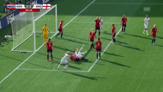 Video «Fussball: Frauen-WM, Achtelfinal, Norwegen-England, 1:1 Houghton» abspielen