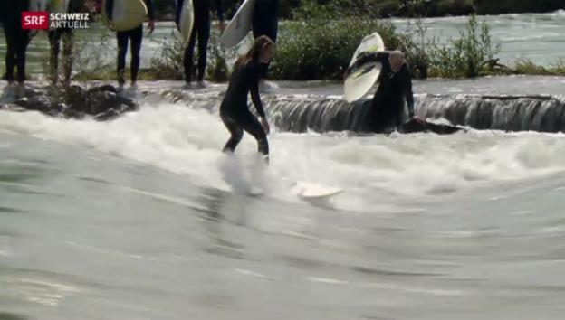 Video «Hochwasser freut Surfer» abspielen
