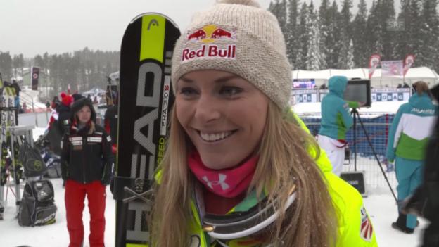 Video «Ski Alpin: Weltcup-Abfahrt in Lake Louise, Lindsey Vonn zu ihrem Sieg» abspielen