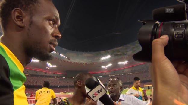 Video «Leichtathletik: WM 2015 in Peking, Usain Bolt» abspielen