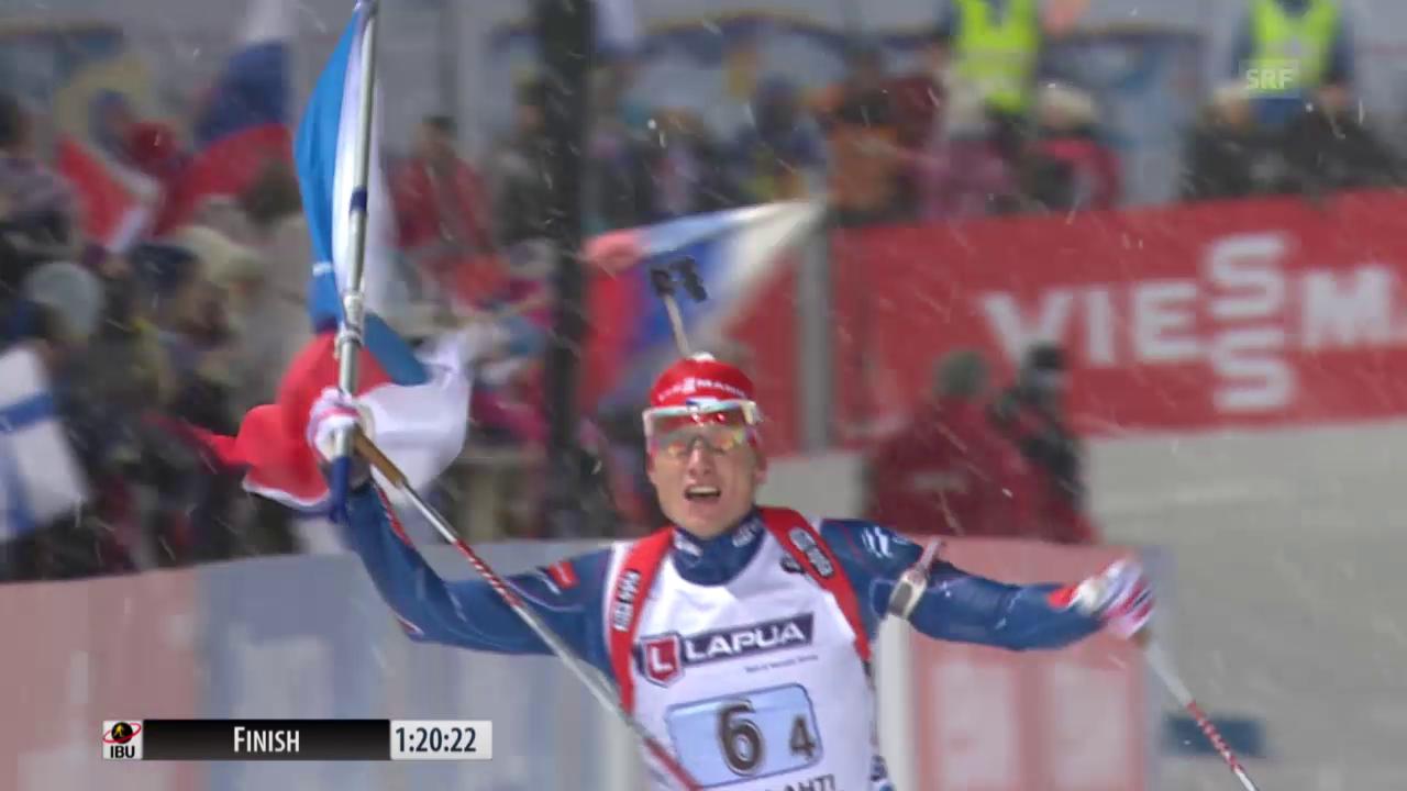 Biathlon: WM Kontiolahti, Mixed-Staffel, Zieleinlauf