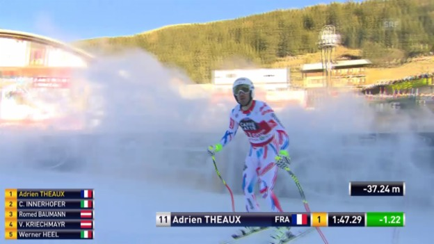Video «Ski: Abfahrt Santa Caterina, Fahrt Adrien Théaux» abspielen