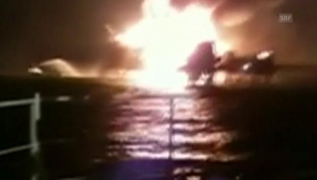 Video «Brand auf der Ölplattform «Abkatun» im Golf von Mexiko (unkom.)» abspielen
