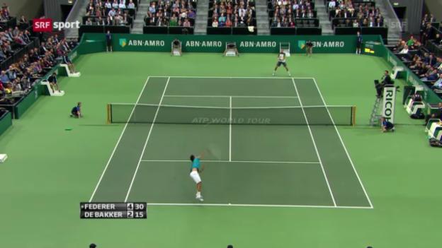 Video «Tennis: Spielbericht Federer - De Bakker» abspielen