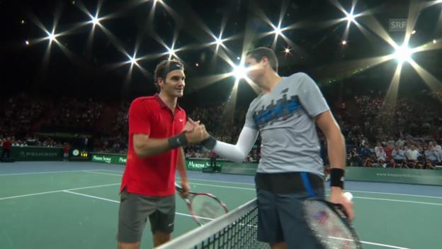 Video «Tennis: Paris-Bercy, Federer - Raonic Highlights» abspielen