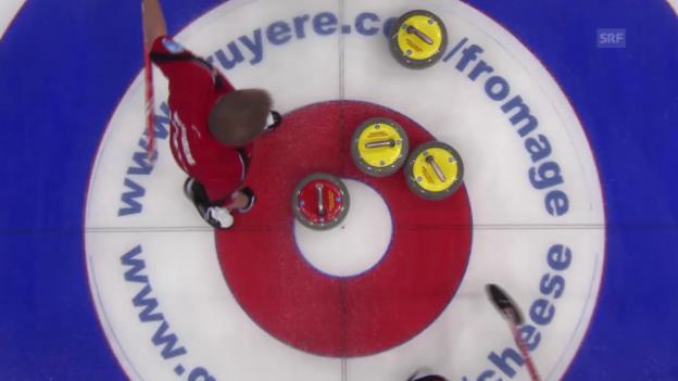 Video «Curling: Michels gelungener letzter Stein im 3. End» abspielen