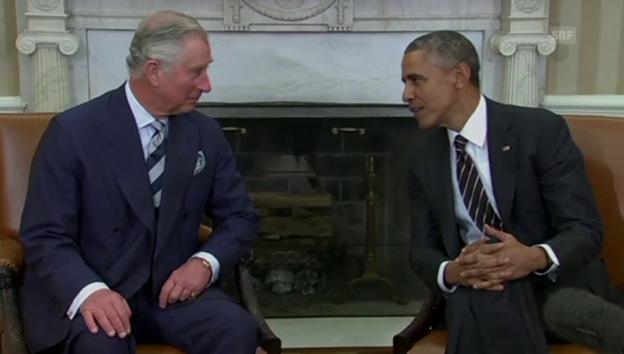 Video «Barack Obama klagt Prinz Charles sein Leid» abspielen