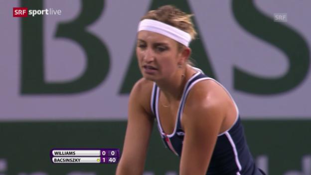 Video «Tennis: WTA-Turnier in Indian Wells, Viertelfinal Bacsinszky - Serena Williams» abspielen