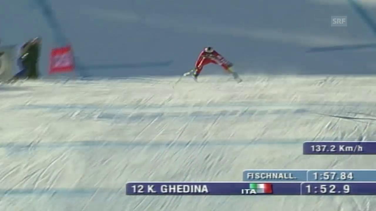 Der verrückte Zielsprung von Kristian Ghedina in Kitzbühel 2004
