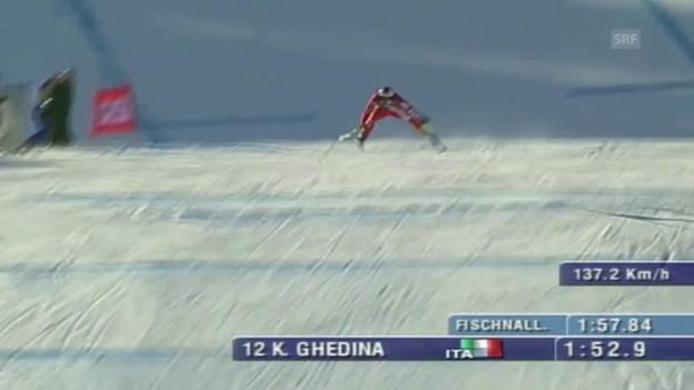 Video «Der verrückte Zielsprung von Kristian Ghedina in Kitzbühel 2004» abspielen