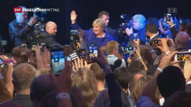 Video «Norwegens Ministerpräsidentin kann weiter regieren» abspielen