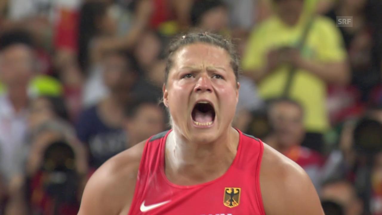 LA-WM: Kugelstsossen Frauen, Gold-Stoss von Schwanitz