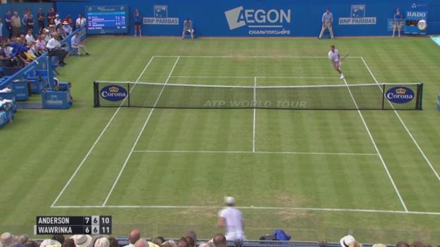 Video «Tennis: ATP Queens, 2. Runde, Wawrinka - Anderson, Vorhandfehler Wawrinka» abspielen