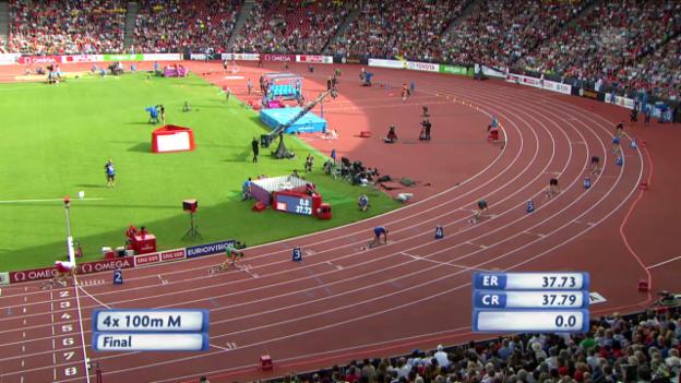 Video «Leichtathletik-EM: 4x100-m-Staffel der Männer» abspielen
