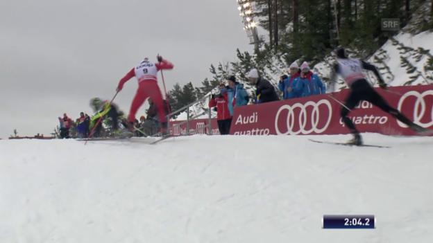 Video «Langlauf: Weltcup in Lahti, Sprint-Viertelfinal mit Roman Schaad» abspielen