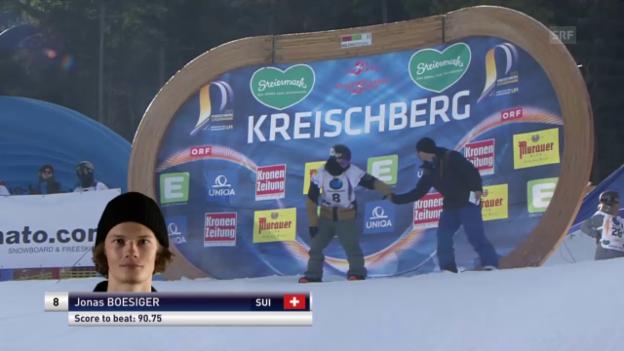 Video «Snowboard: Freestyle-WM - Slopestyle 1. Final-Lauf Jonas Boesiger» abspielen