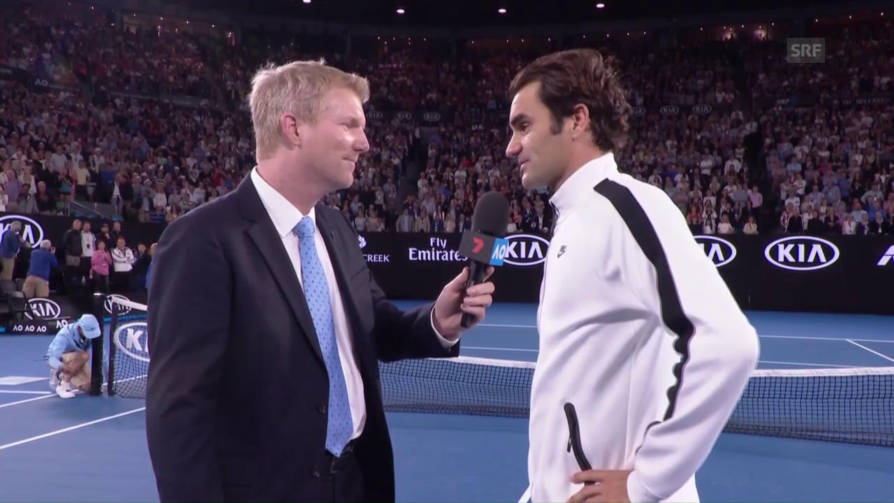 Federer im Platzinterview: «Der Physio hat Wunderhände» (Engl.)
