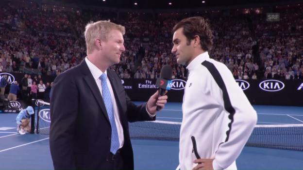 Video «Federer im Platzinterview: «Der Physio hat Wunderhände» (Engl.)» abspielen