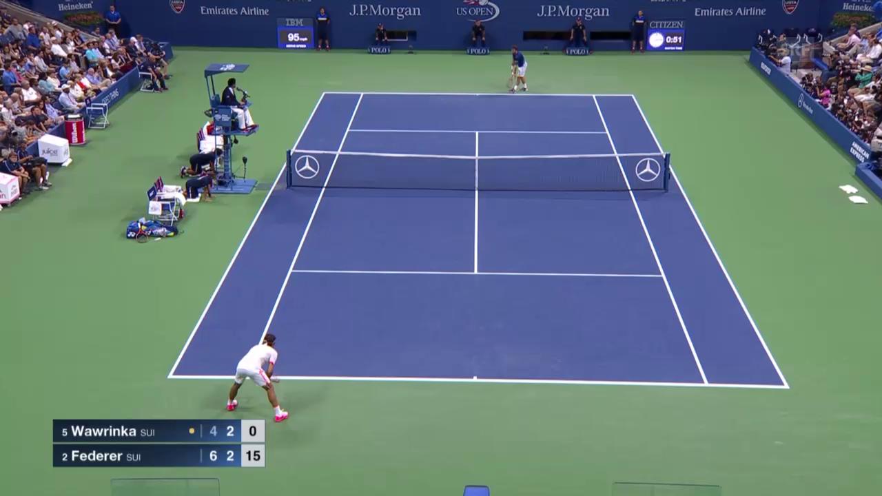 Tennis: US Open, Wawrinka - Federer, Highlights Satz 2