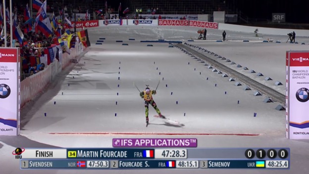 Video «Biathlon: WM, 20 km Männer, Zieleinlauf von Martin Fourcade» abspielen