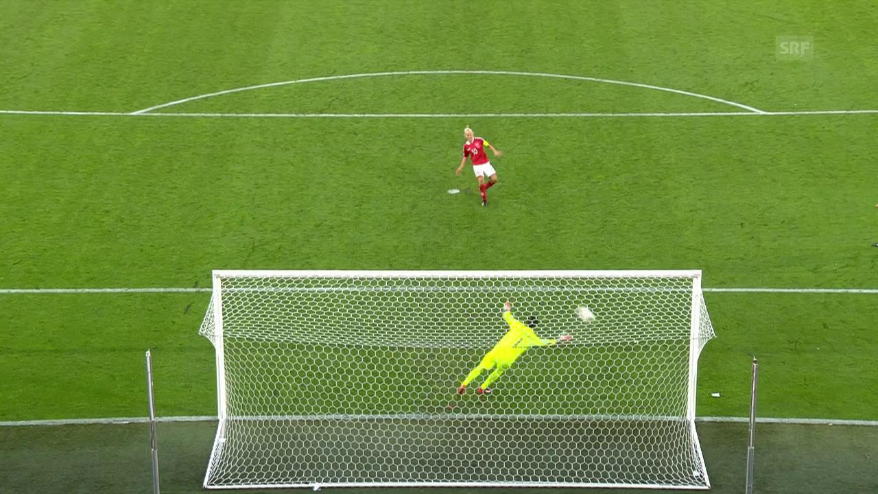 Das Penaltyschiessen zwischen Dänemark und Österreich