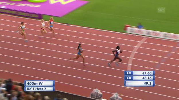 Video «LA-EM: 400 m Frauen, Vorlauf mit Christine Ohuruogu» abspielen
