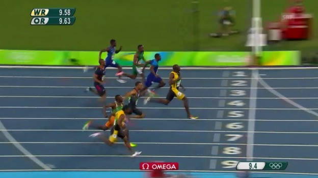 Video «Bolts Olympia-Gold über 100 m 2016 in Rio» abspielen