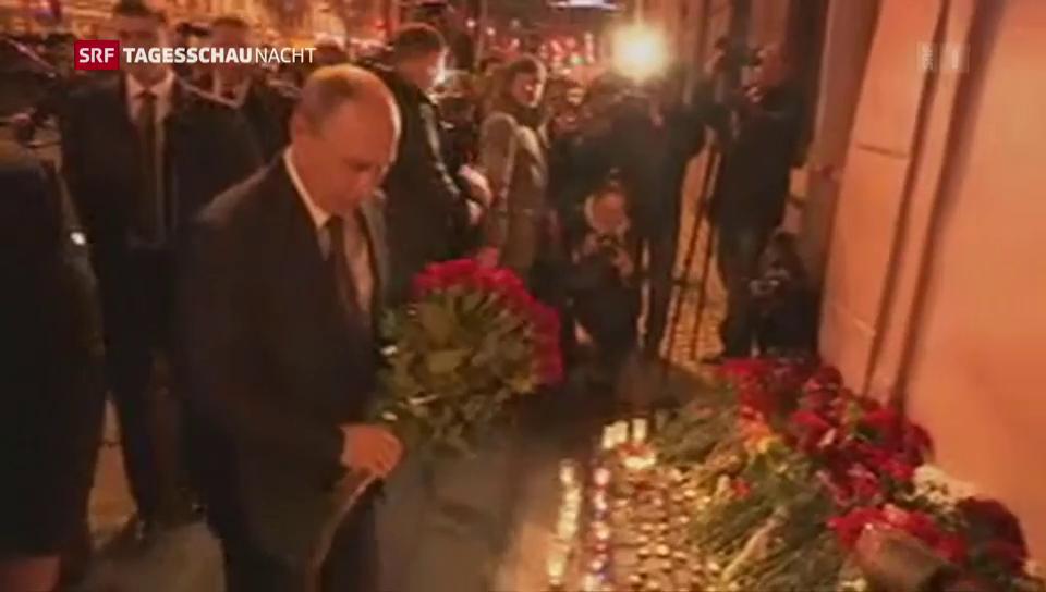 Putin gedenkt der Opfer in St. Petersburg
