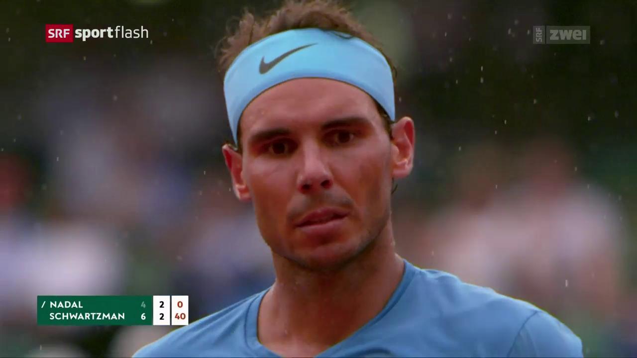 Regen stoppt Nadal und Schwartzman