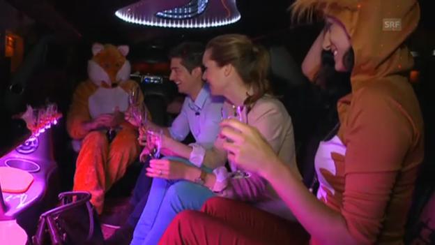 Video «Sara Hildebrand und Tobias Müller in der Stretch-Limo» abspielen