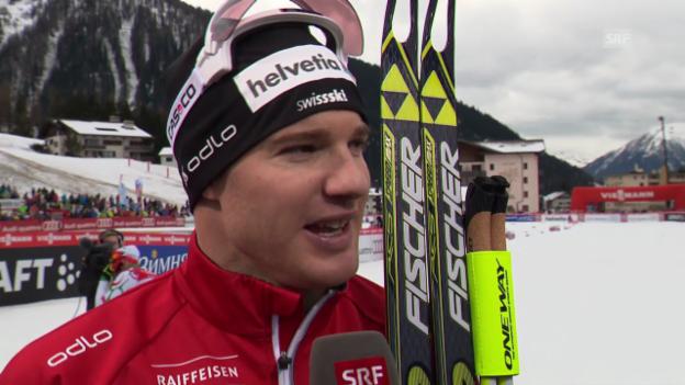 Video «Langlauf: Weltcup Davos, Skating-Sprint, Interview mit Dario Cologna» abspielen