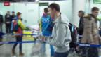 Video «Langlauf: Ankunft von Dario Cologna» abspielen