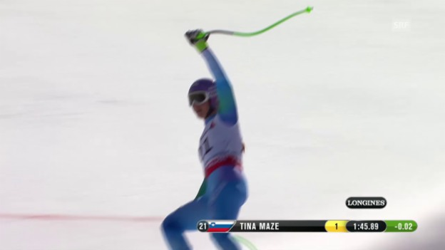 Video «Ski: WM 2015 Vail/Beaver Creek, Abfahrt Frauen, Fahrt Tina Maze» abspielen
