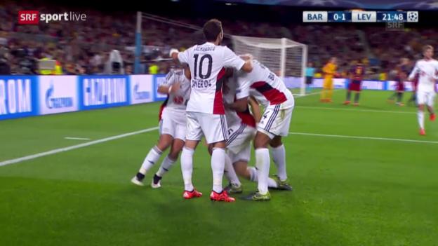 Video «Barcelona-Leverkusen: 0:1 Papadopoulos» abspielen