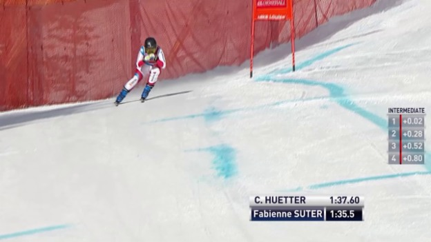 Video «Ski: Abfahrt Frauen Lake Louise, Fahrt Fabienne Suter» abspielen