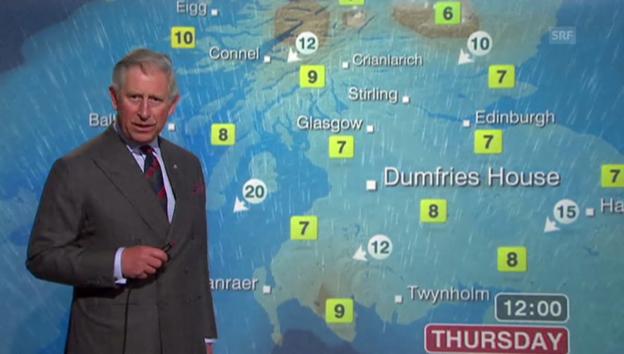 Video «Wetterfrosch: Prinz Charles moderiert 2012 das Wetter auf BBC» abspielen