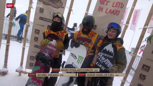 Video «Snowboard: European Open in Laax, Halfpipe-Wettkampf der Männer» abspielen
