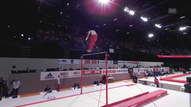 Video «Kunstturnen: EM in Montpellier, Mehrkampf-Final Männer, Baumann Reck-Übung» abspielen