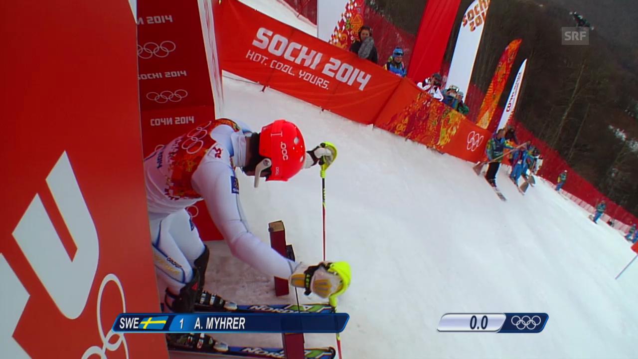 Ski Alpin: Slalom der Männer, 1. Lauf von Andre Myhrer (sotschi direkt, 22.2.2014)